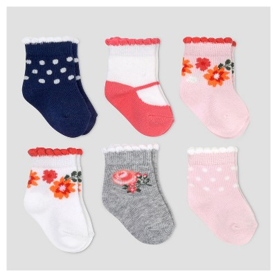 Baby Girls' 6pk Scalloped Floral Socks - Just One You™ Made by Carter's® Multicolor 0-3M