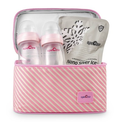 Spectra Pink Cooler with Ice Pack and Breast Milk Bottles Kit