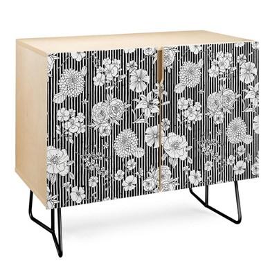 Ninola Design Flowers and Striped Credenza - Deny Designs