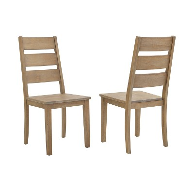Set of 2 Joanna Ladder Back Chairs Rustic Brown - Crosley