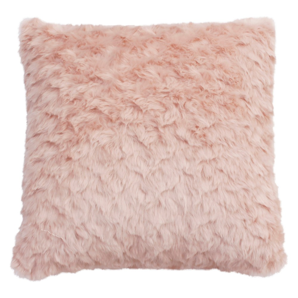 Corey Faux Fur Oversize Square Throw Pillow Light Pink - Decor Therapy