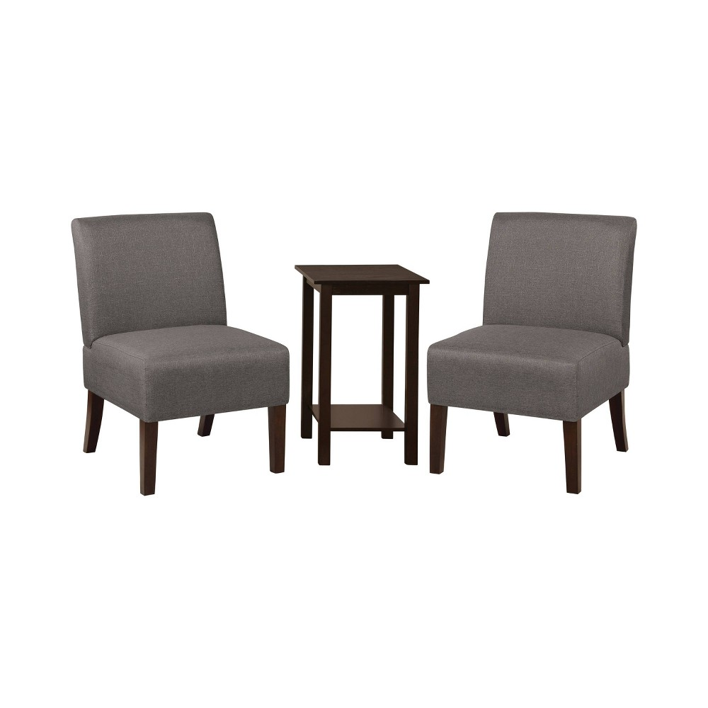 Image of 3pc Chastain 2 Chairs 1 Accent Table Wood & Vinyl Dark Gray - miBasics