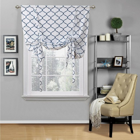 Kate Aurora Living Shabby Chic Trellis Quatrefoil Tie Up Window Curtain Shade - image 1 of 3