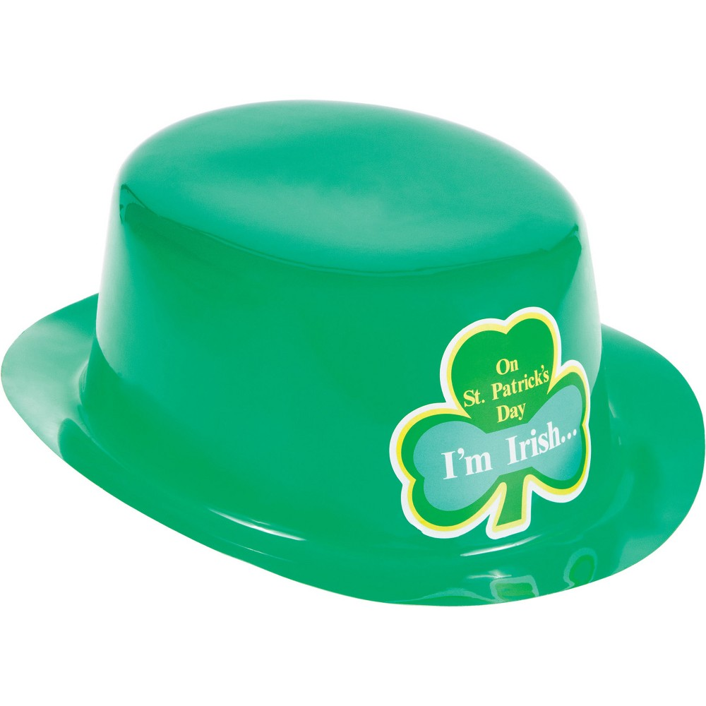 Image of 12ct St. Patrick's Day Plastic Party Hats Green