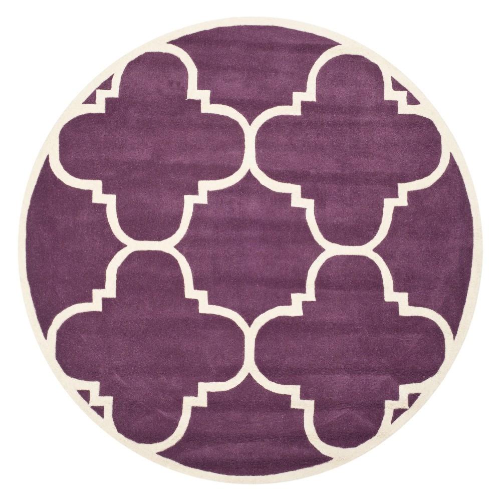 7 Quatrefoil Design Tufted Round Area Rug Purple Ivory Safavieh