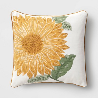 Embroidered Sunflower Square Throw Pillow Yellow - Threshold™