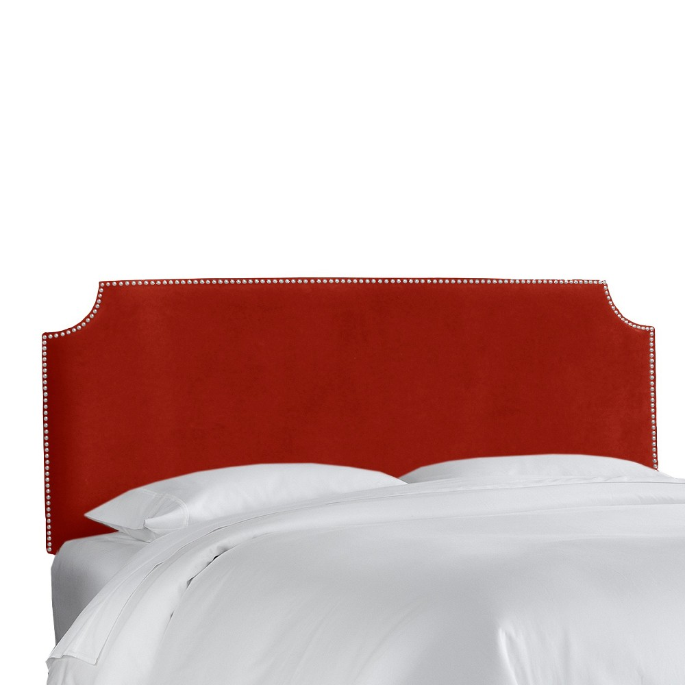 Queen Lombard Nail Button Notched Headboard Red Microfiber - Skyline Furniture