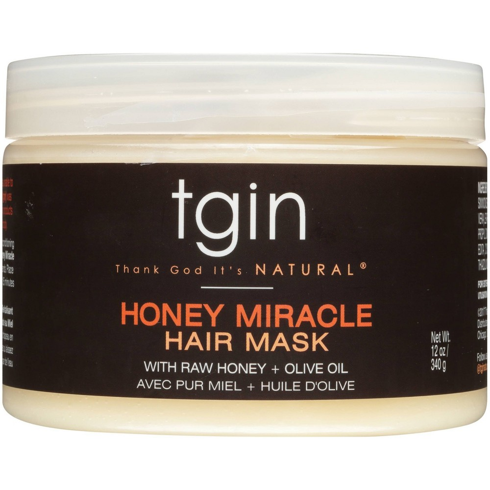 Image of TGIN Honey Miracle Hair Mask With Raw Honey + Olive Oil Deep Conditioner - 12oz