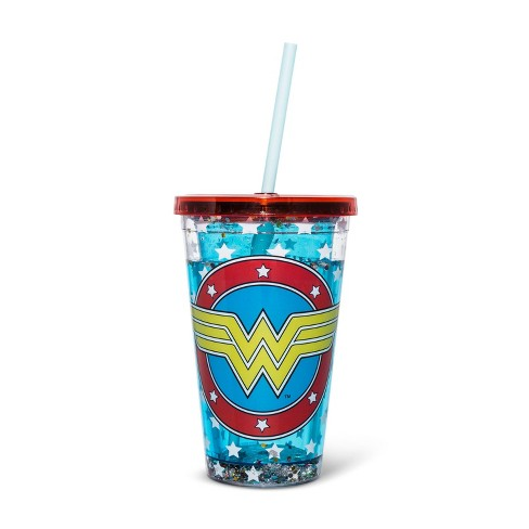 Wonder Woman 14oz Plastic Snow Globe Tumbler - Silver Buffalo - image 1 of 1