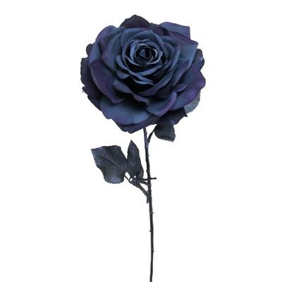 "Allstate Floral 26"" Deepest Indigo Artificial Madonna Rose Silk Floral Pick"