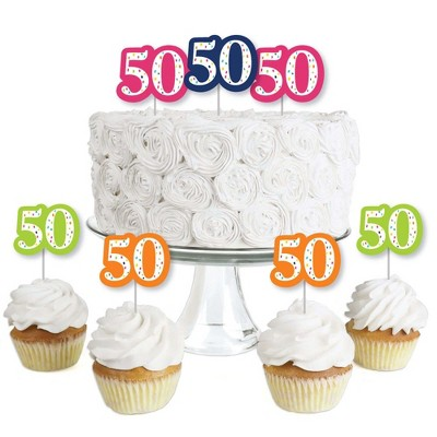 Big Dot of Happiness 50th Birthday - Cheerful Happy Birthday - Dessert Cupcake Toppers - Fiftieth Birthday Party Clear Treat Picks - Set of 24