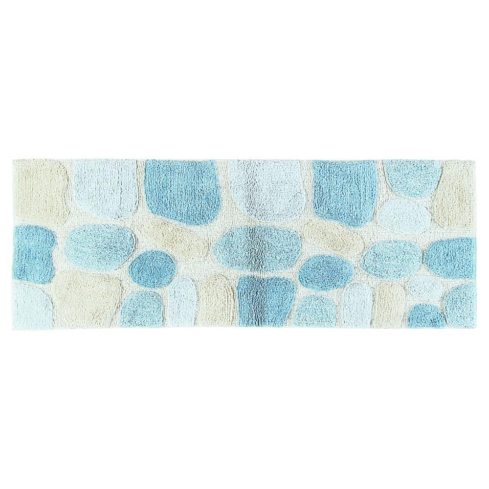 Pebbles Bath Rug Runner Aqua (Blue) & Cream (24