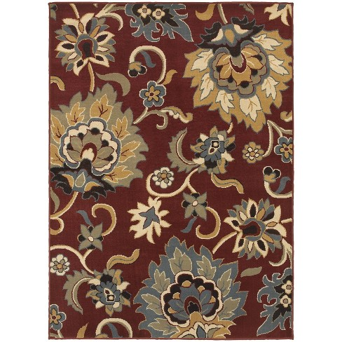 "5'3""X7'3"" Shelby Floral Rug Red/Gold - image 1 of 2"