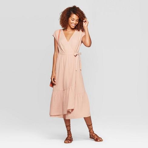 Women's Short Sleeve V-Neck V-Neck Ruffle Hem Midi Dress - Universal Thread™ - image 1 of 3