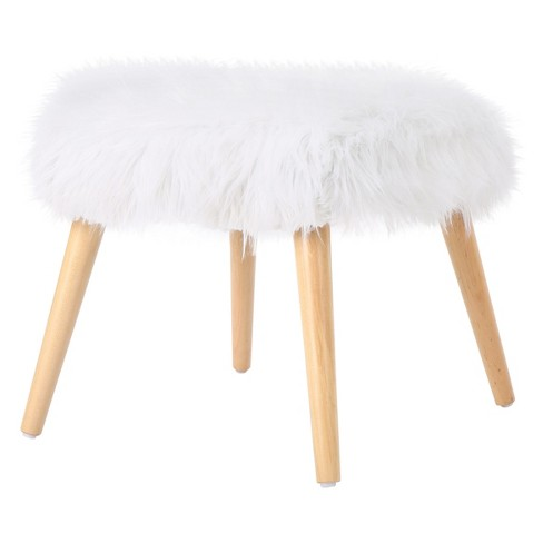 Superb Huxley Faux Fur Ottoman Christopher Knight Home Andrewgaddart Wooden Chair Designs For Living Room Andrewgaddartcom
