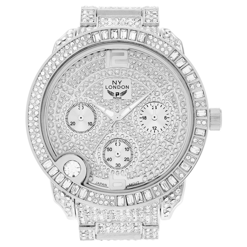 Women's Geneva Platinum 7 3/4 CT. T.W. CZ Large Case Link Bracelet Watch - Silver