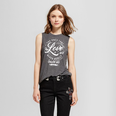 Women's Harry Potter® Love Us Graphic Tank Top Charcoal (Juniors') - image 1 of 2