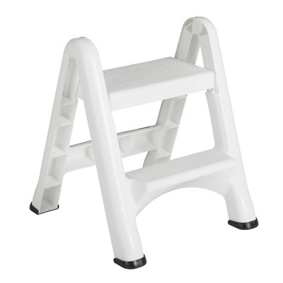 Rubbermaid EZ Step 2 Step Folding Plastic Ladder Step Stool with Skid Resistant Foot Pads, White