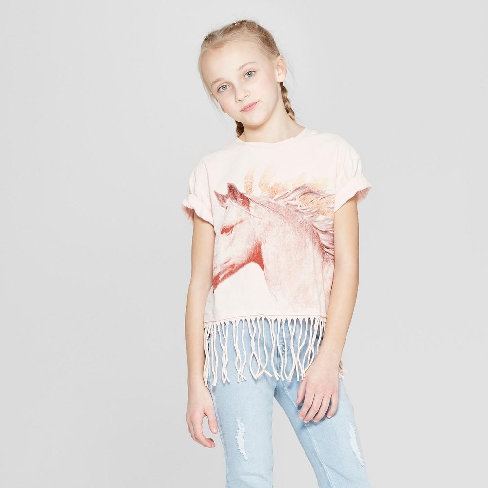 Girls' Short Sleeve Raw Edge Fringe T-Shirt - art class Pink Xxl