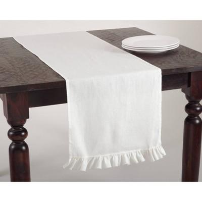 Ruffled Design Table Runner Ivory - Saro Lifestyle