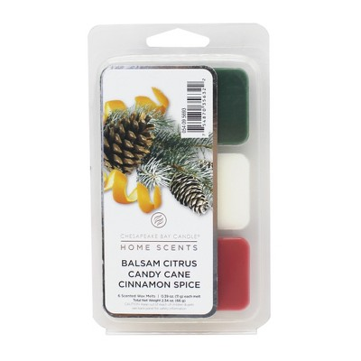 6pk Wax Melts Balsam Citrus/Candy Cane/Cinnamon Spice - Home Scents By Chesapeake Bay Candle