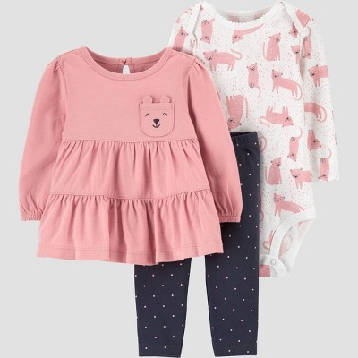 Baby Girls' Bear Top & Bottom Set - Just One You® made by carter's Gray/Pink Newborn