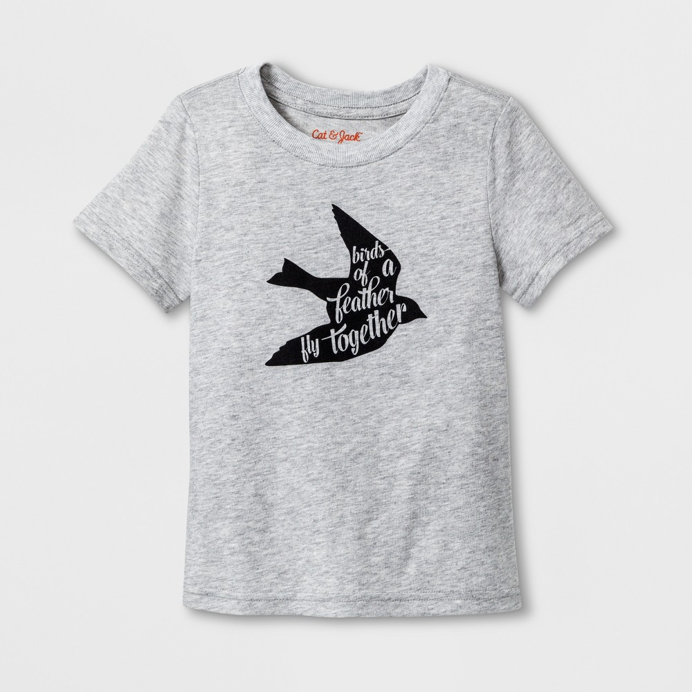 Toddler Short Sleeve 'Birds of A Feather' Graphic T-Shirt - Cat & Jack Light Gray 4T, Toddler Unisex