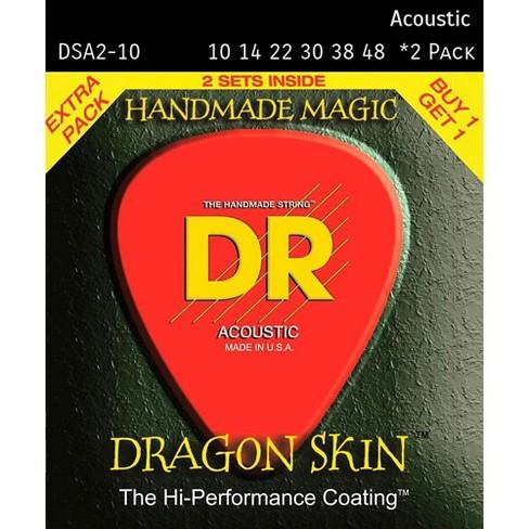 DR Strings Dragon Skin Clear Coated Phosphor Bronze Light Acoustic Guitar Strings (10-48) 2 Pack - image 1 of 1