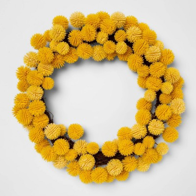 "16"" Artificial Billy Ball Wreath Yellow - Threshold™"
