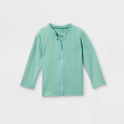 Toddler Boys' Zip-Up Long Sleeve Rash Guard Swim Shirt - Cat & Jack™ Aqua