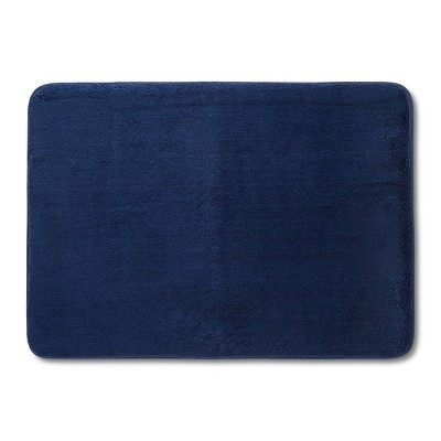 "24""x17"" Velveteen Memory Foam Bath Rug Dark Blue - Room Essentials™"