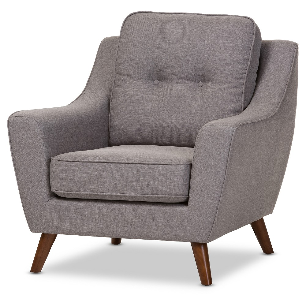 Deena Mid - Century Modern Wood Finish and Fabric Upholstered Button - Tufted Armchair - Light Gray,