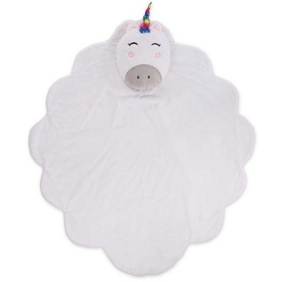 Silky Soft Fleece Unicorn Cloud Snuggle Play Mat with Attached Pillow