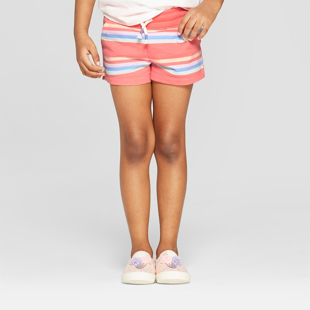 Toddler Girls' Striped Straight Pull-On Shorts - Cat & Jack Peach 2T, Pink