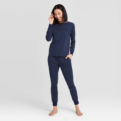 Women's Polka Dot Pajama Set - Navy - image 1 of 3