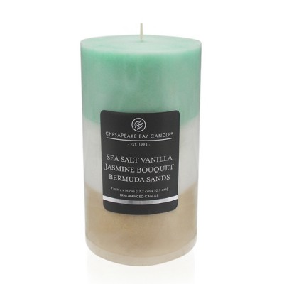 Layered Pillar Candle Sea Salt Vanilla/Jasmine Bouquet/Bermuda Sands 7 x4  - Chesapeake Bay Candle