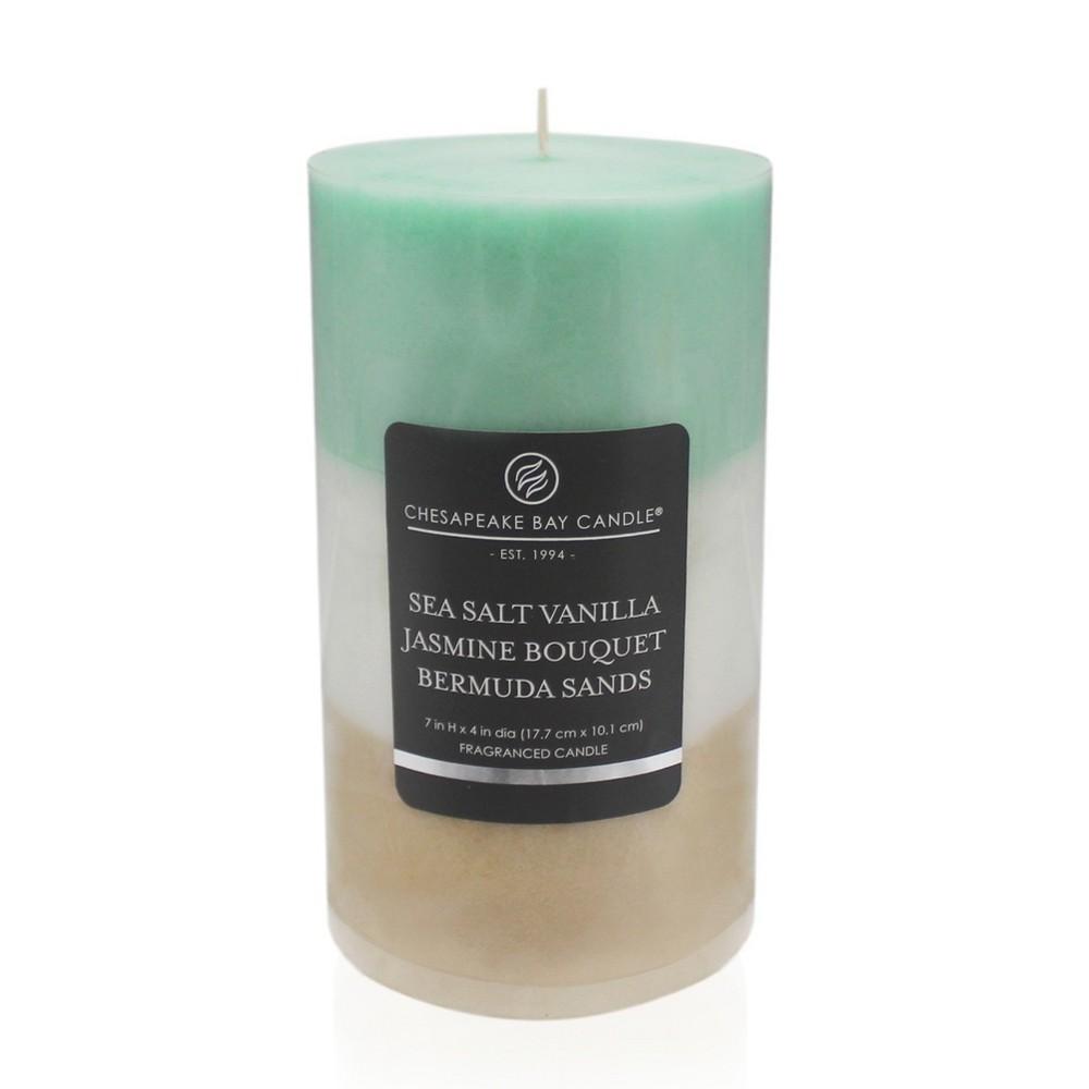 Layered Pillar Candle Sea Salt Vanilla/Jasmine Bouquet/Bermuda Sands 7