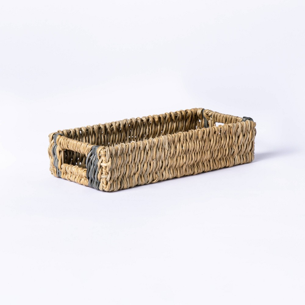 Small Manmade Outdoor Wicker Tray With Hole Handles Gray Stripes Threshold 8482 Designed With Studio Mcgee