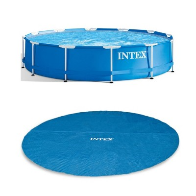 Intex 12 Foot x 30 In. Easy Set and Metal Frame Pool w/ Solar Cover Tarp, Blue