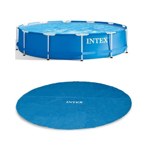Intex 12 Foot x 30 In. Easy Set and Metal Frame Pool w/ Solar Cover Tarp, Blue - image 1 of 4