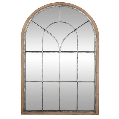 "33"" x 51"" Wood Oversized Arched Window Wall Mirror Brown - Olivia & May"