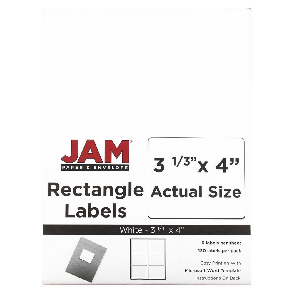 """Image of """"JAM Paper Mailing Labels 3 1/3"""""""" X 4"""""""" 120ct - White"""""""