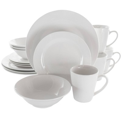 16pc Porcelain Marshall Dinnerware Set White - Elama