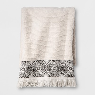 Black Medallion Border Bath Towel Beige - Opalhouse™