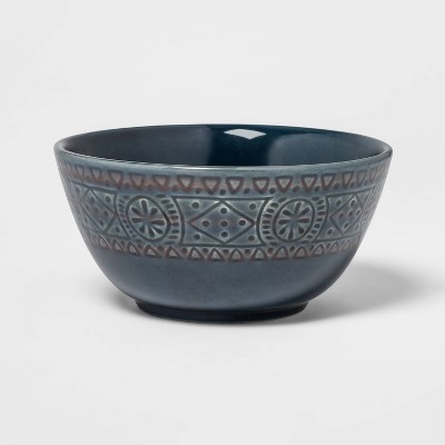 26oz Ceramic Kingfield Debossed Cereal Bowl Blue - Threshold™