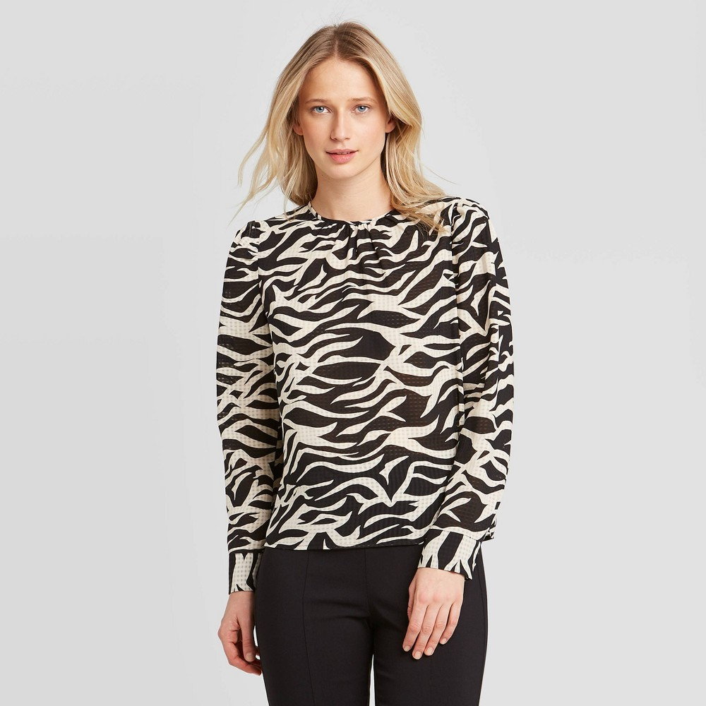 Women's Animal Print Puff Long Sleeve Blouse - Who What Wear Black/White XS, Women's was $27.99 now $19.59 (30.0% off)