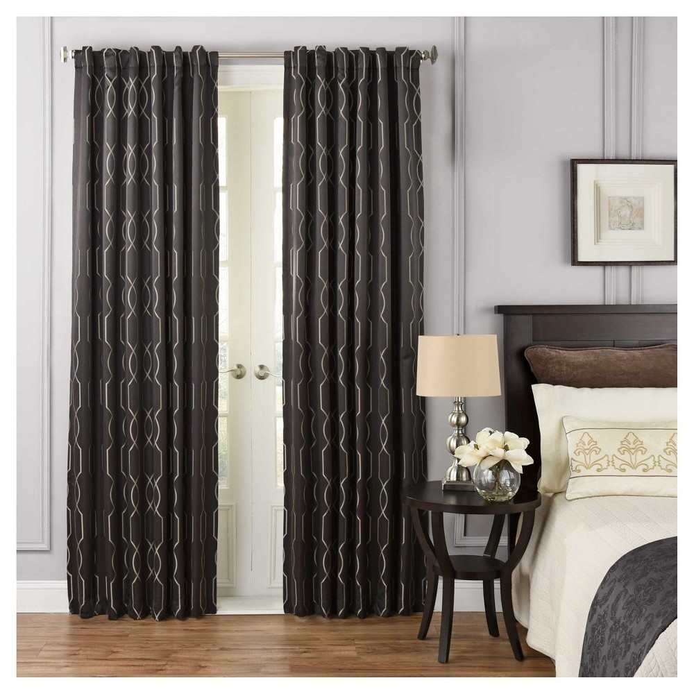 "Image of ""108""""x52"""" Yvon Blackout Curtain Panel Geometric Black - Beautyrest"""