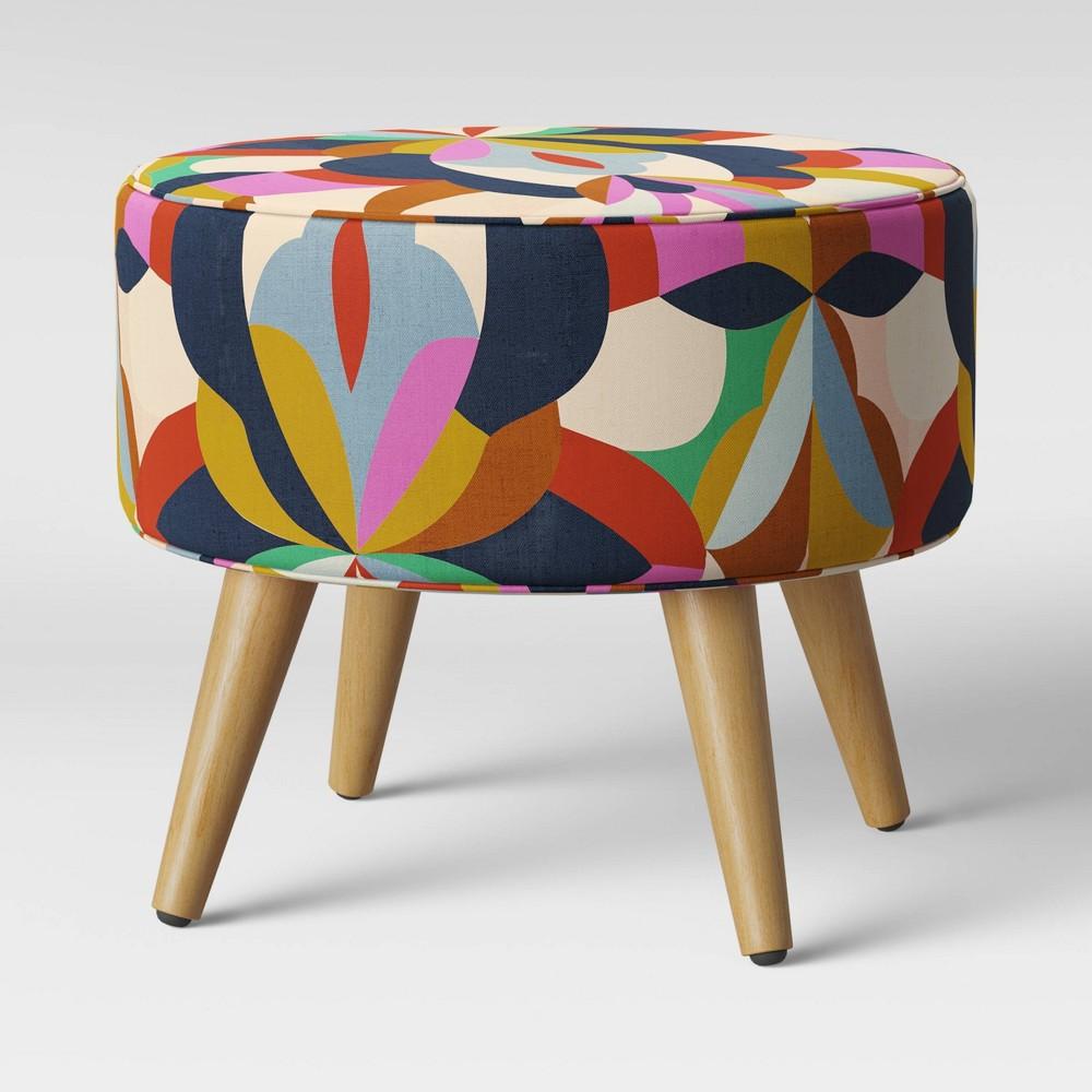 Riverplace Round Cone Leg Ottoman Bold Print - Project 62
