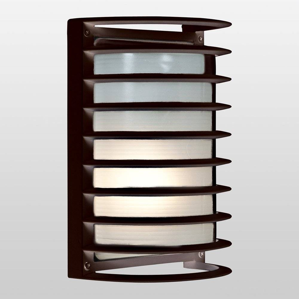 "Image of ""11"""" Bermuda LED Outdoor Wall Light with Ribbed Frosted Glass Shade Bronze - Access Lighting"""