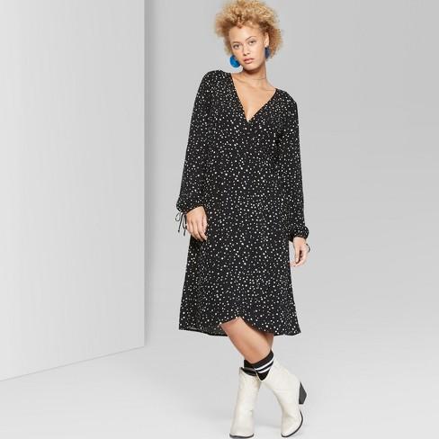 0ee1a4780c8 Women s Star Print Long Sleeve Wrap Midi Dress - Wild Fable™ Black   Target